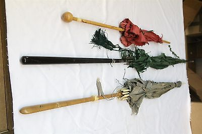 S Lot of 3 Victorian Umbrellas Red Green Silver
