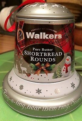 WALKERS PURE BUTTER SHORTBREAD ROUNDS IN BELL SHAPED DECORATIVE TIN 100g