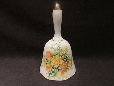 Giftcraft Vintage bell with Yellow, orange & gold floral detail