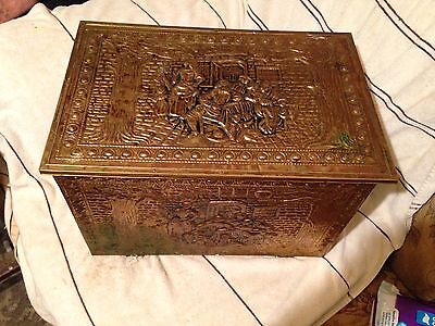 Vintage Style, Brass Embossed, Wooden Log Box
