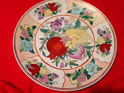 Large, Antique Plate, Hand Painted, Vegetable Design.