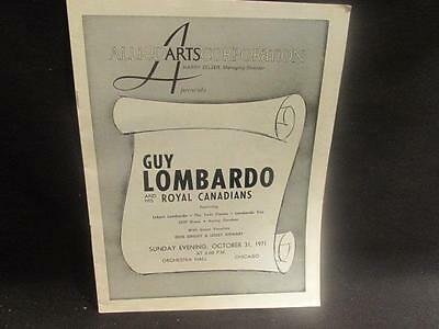 Guy Lombardo October 31, 1971 Programme & Set List Orchestra Hall Chicago
