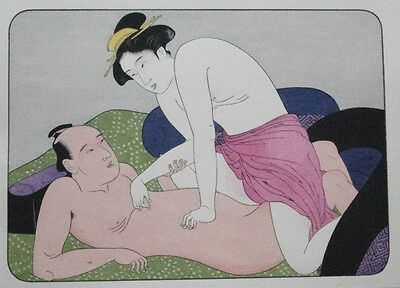 Lovers In Bed - Shunga Erotic Art - Japanese Woodblock Print - Sexual Picture