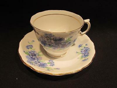 Colclough Lovely Vintage Bone China Tea Cup & Saucer Blue Floral Design