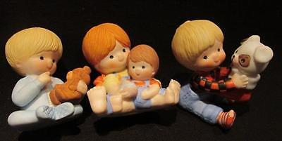 Enesco 1980s Mini Figures Boy Puppy & Stocking, Baby with Bear, Girl & Boy