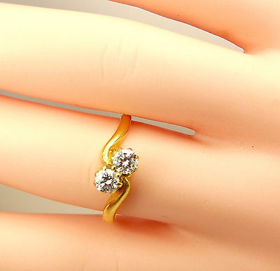 Vintage 18ct Gold CROSSOVER Diamond Engagement RING 1987