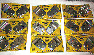 9 Pair Nos Mid Century Cabinet Hinges Chrome Plate Standard Hardware 3/8 Offset