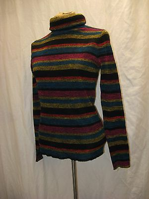 Vintage 1970's Black Blue Yellow Red Wool Acrylic Turtle Neck Sweater Top Size M