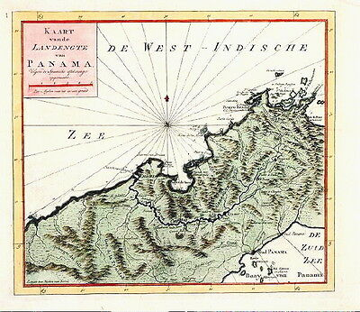 ANTIQUE MAP - 1766 -  PANAMA -  AMERICA - Isaac Tirion - 1766