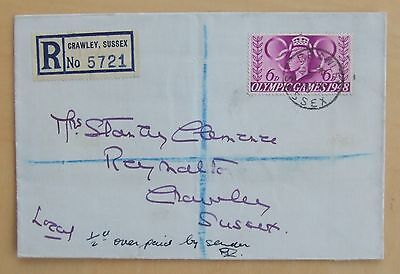 1948 GB First Day Cover of Olympic Games 6d stamp Registered
