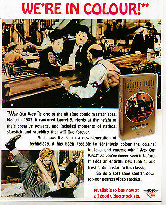 A4 Advert for the Video Release of Way Out West Stan Laurel Oliver Hardy