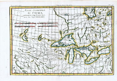 ANTIQUE MAP - 180 - CANADA - GREAT LAKES - NORTH AMERICA - R. Bonne