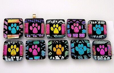 PAW PRINT colorful Lot 10pcs DICHROIC FUSED GLASS (Y2) scrapbook CAB MOSAIC