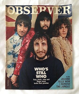 Observer Magazine THE WHO,  19 March 1972 Vintage