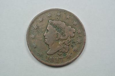 1817 Coronet Head Large One Cent Coin, VG + Condition - C2254