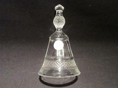 "Dalzell Viking Hand Made in USA Vintage Clear Glass Bell 5"" tall"