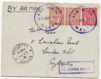 1931 Airmail Valletta Malta Cover To London Framed By Air To Genoa Only Cachet