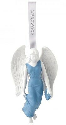 Wedgwood Figural Angel in Blue Gown Porcelain Christmas Ornament Decoration New