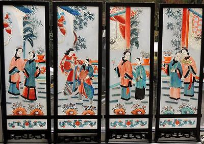 CHINESE Antique PAINTED GLASS SCREEN PANELS c1900