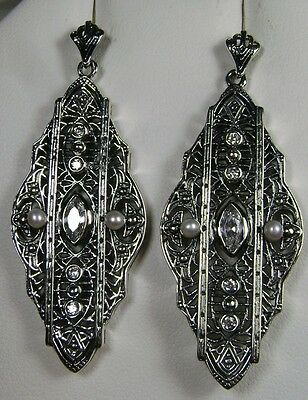 White Gem & Pearl Sterling Silver Deco Filigree Dangle Earrings (Made To Order)