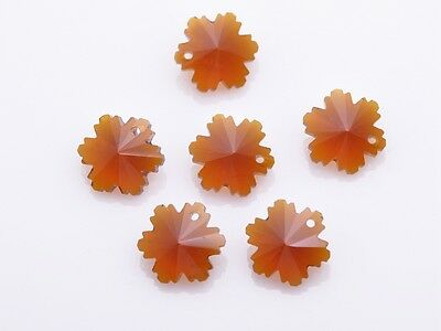 10pc 14mm Snowflake Loose Faceted Crystal Glass Pendant Beads Craft Smoked Topaz