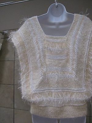 Hand Knit, Fancy Sweater, Cream and Colorful, Aurara, Long Threads  EUC