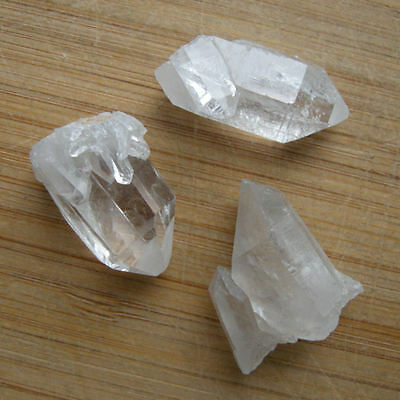 """Lot of 3 Thumbnail Quartz Twinned & Cluster Points Clear Crystal Terminations 1"""""""