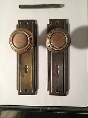 Vintage Set of Art Deco Brass Door Knobs & Back Plates Architectural Hardware