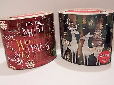 Lot of 2 Christmas/Holiday Kleenex Oval Tissues Shiny Prints Elegant Reindeer