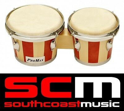 "Percussion 7-8"" Bongo Drums Pair Natural Hide Skins Bongos 7-8 Inch Brand New"
