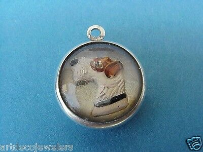 Vintage WIRE FOX HAIR TERRIER DOG PAINTED CARVED REVERSE INTAGLIO CRYSTAL charm