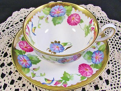 Royal Chelsea Morning Glory Floral Heavy Gold Tea Cup And Saucer