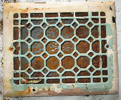 Antique Vintage Ornate Cast Iron Heat Louvered Register Grate Vent 11.75 X 9.75