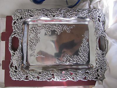 "Arthur Court 18"" Grape Clutch Tray with handles in original box 1991 aluminum"