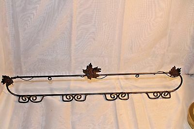 """Lovely Metal Wall Plate Rack/Holder~Leaf/Leaves Accent~21""""L x 3""""T~Holds 4 Plates"""
