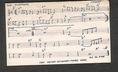 Tune-Dex performing rights info card- Old Playmate-  Gus Kahn/MGM