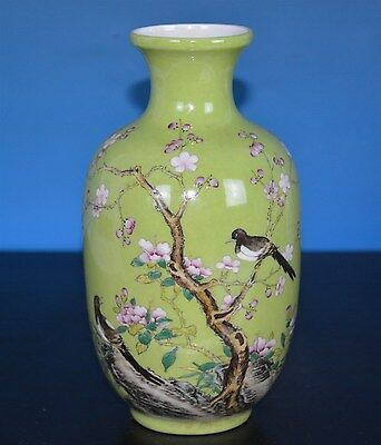Exquisite Antique Chinese Famille Rose Porcelain Vase Marked Yongzheng M3991