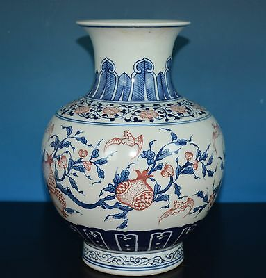 Fine Antique Chinese Polychrome Porcelain Vase Marked Yongzheng Rare N6916