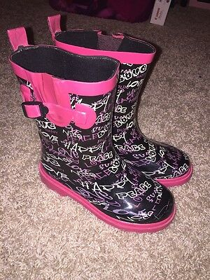 Capelli New York Kids Rain boots Graffiti Print Black Pink 12-13