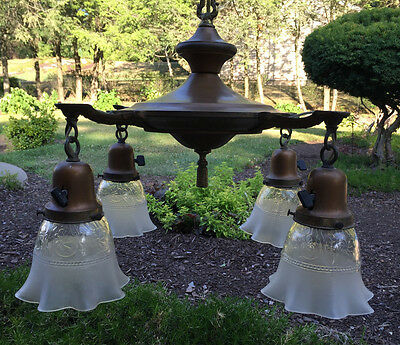 Antique Victorian 4 Arm Hanging Ceiling Lamp Light Fixture