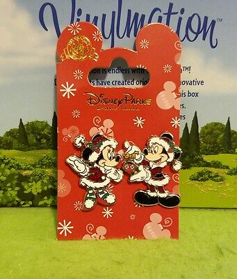Disney Pin New on Card Christmas Holiday Mickey Mouse Minnie Santa Claus Mrs