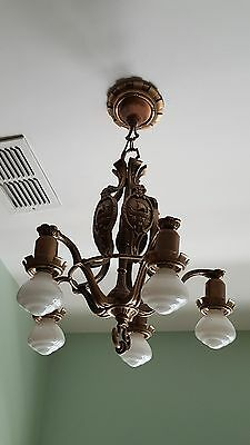 Cast Bronze Chandelier, 1920s-30s, New Wiring, Viking Nautical Maritime Theme