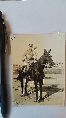 Original Wwii Japanese Photo: Army Cavalry Soldier, Type 44 Rifle!!