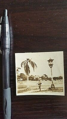 Original Wwii Japanese Photo: Army Soldier Guard, Helmets, South China!!