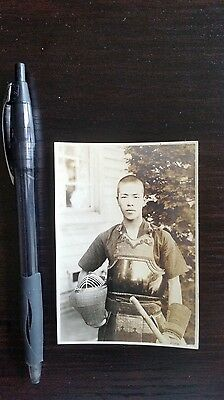 Original Wwii Japanese Photo: Army Soldier In Kendo Fighting Gear!!