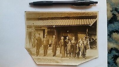 Original Wwii Japanese Photo: Army Soldier With Family, Going To War Soon!!