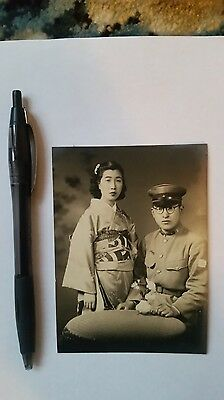 Original Wwii Japanese Photo: Army Soldier With Girlfriend!!