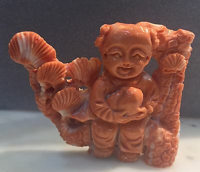Antique Chinese Carved Coral Child Figure Statue