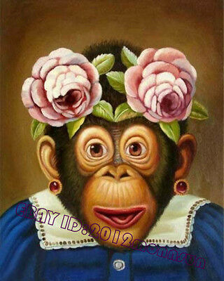 """Handicraft Art oil painting On Canvas""""With Monkeys"""" 20""""x24""""inch"""