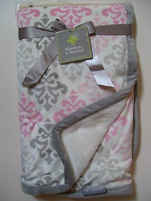 Girls Blankets and Beyond Soft Pink Gray White Damask Baby Blanket NWT